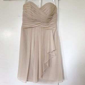 Strapless Cream-colored Bridesmaid Dress